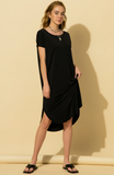 Black Curved Hem Midi Dress