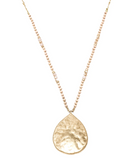 Becci Hammered Teardrop Necklace