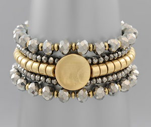 Gold Circle Medallion Bracelet Set