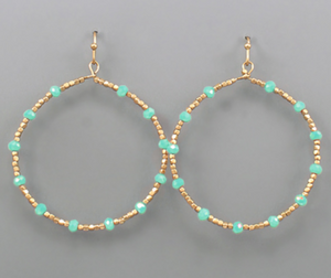 Turquoise & Gold Beaded Circle Earrings