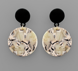 Acrylic Black & Blush Double Circle Earrings
