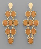 Wooden Chandelier Drop Earrings