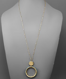 Teal Beaded Hammered Circle Necklace
