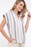 Plus Striped Navy Button Down Dolman