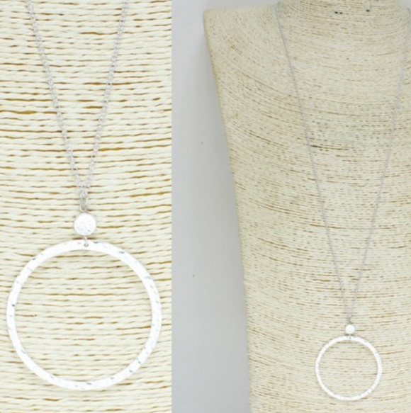 Worn Small Circle Metal Necklace