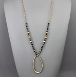 Crystal with Oval Drop Necklace
