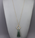 Matte Gold Diamond withTassel Necklace
