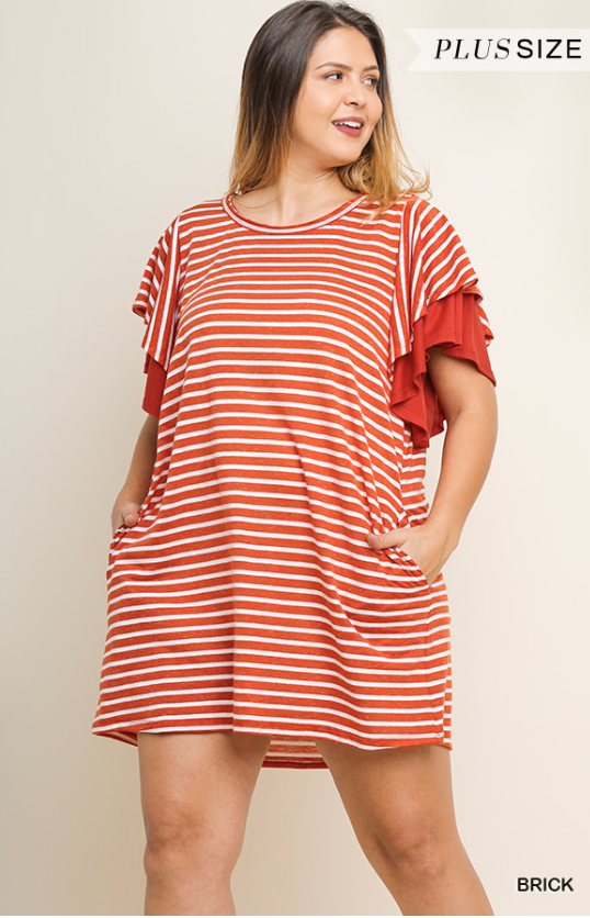 Striped Pocket Tee Dress - Shoppe3130