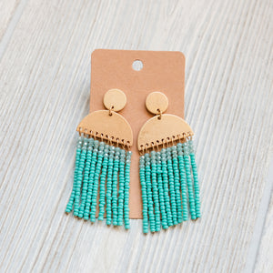 Seed Bead Worn Gold Tassel Earrings - Shoppe3130