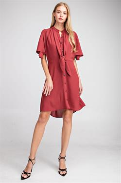 Wine Down Tie Front Button Down Dress