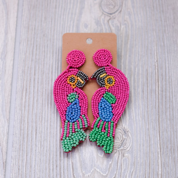 Pink and Green Parrot Seed Bead Earrings - Shoppe3130