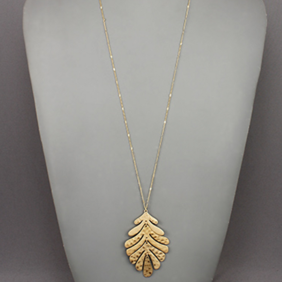 Textured Leaf Necklace
