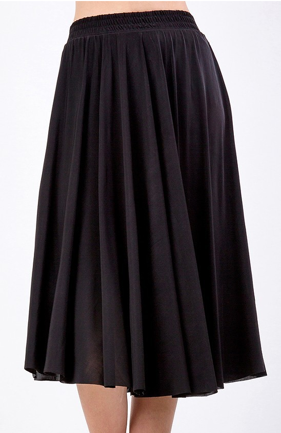Black Solid Flare Midi Skirt