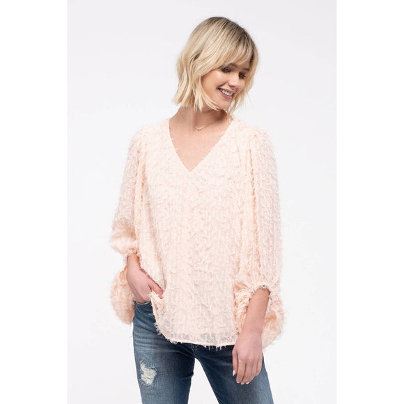 Blush Eyelash Fringe Sweater