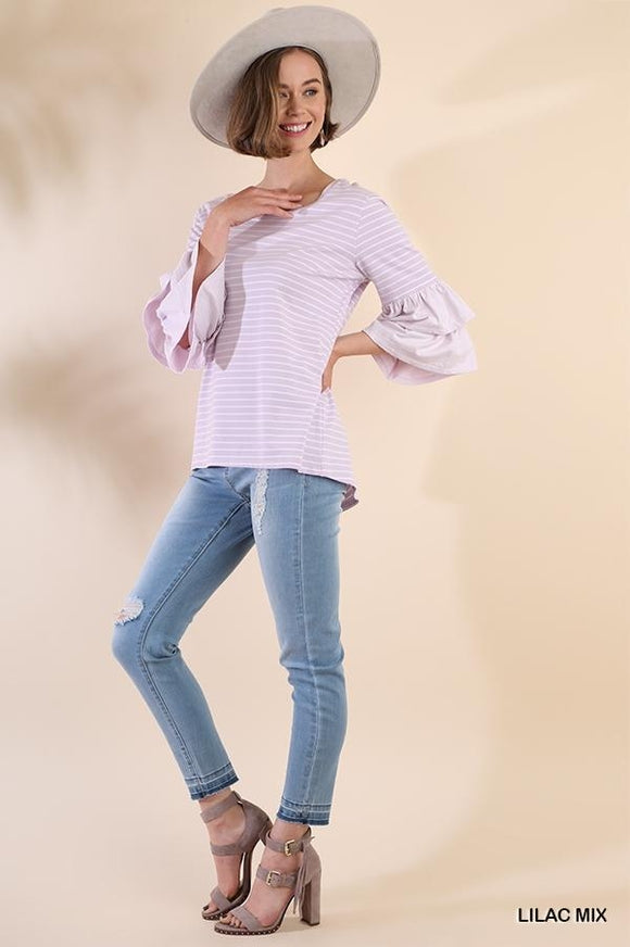 Ruffled Stripe Round Neck Top
