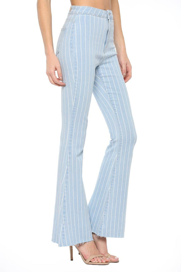 Cello Striped Flare Denim - Shoppe3130