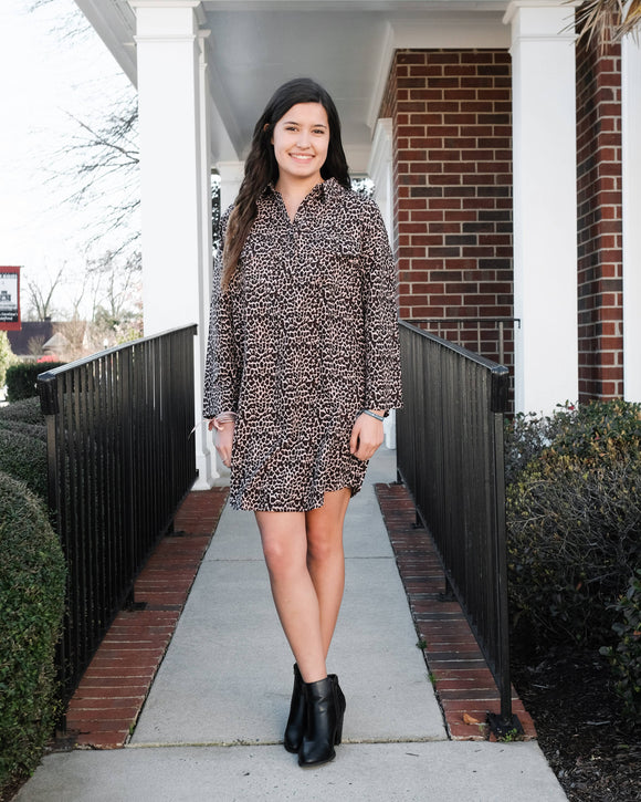 Animal Print LS Dress - Shoppe3130