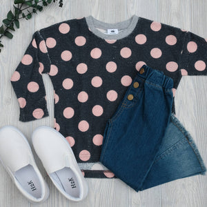 Kids Pink Polka Dot Sweater - Shoppe3130