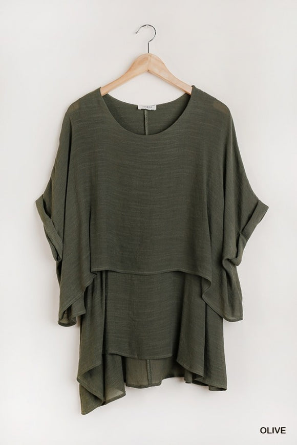 Olive Layered Tunic Top