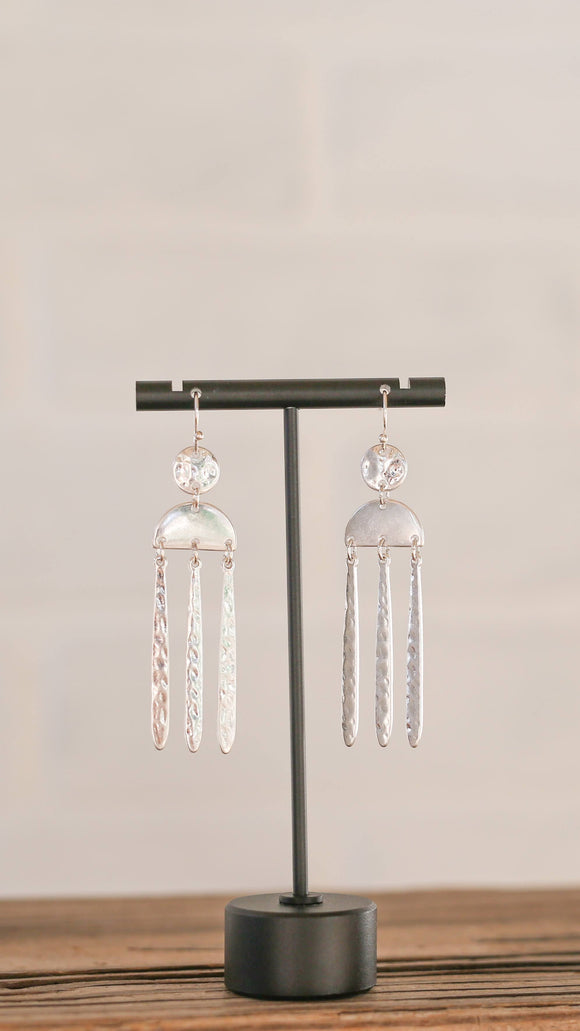 Silver Half Moon Dangle Earrings