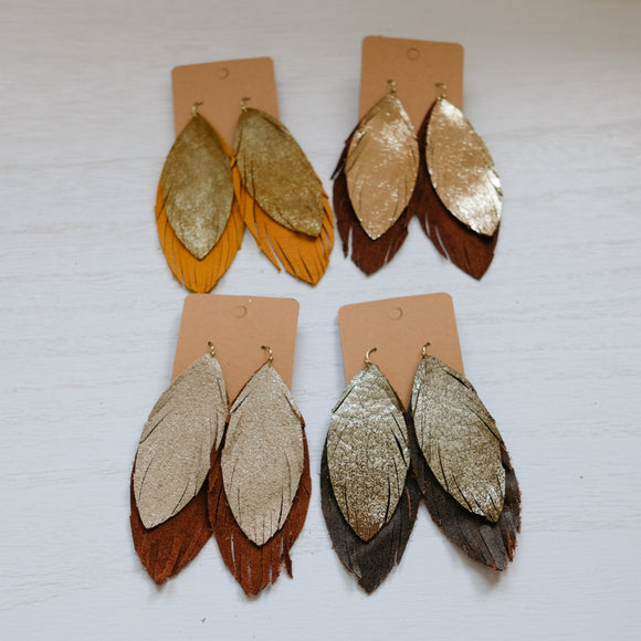 Double Feather Genuine Leather Earrings - Shoppe3130