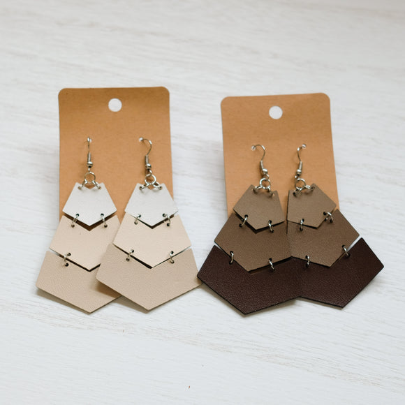 Faux Leather Ombre Arrow Earrings - Shoppe3130