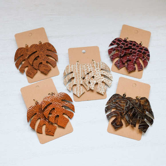 Leather Monstera Leaf Earrings - Shoppe3130