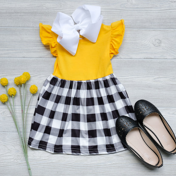 Mustard Plaid Dress - Shoppe3130