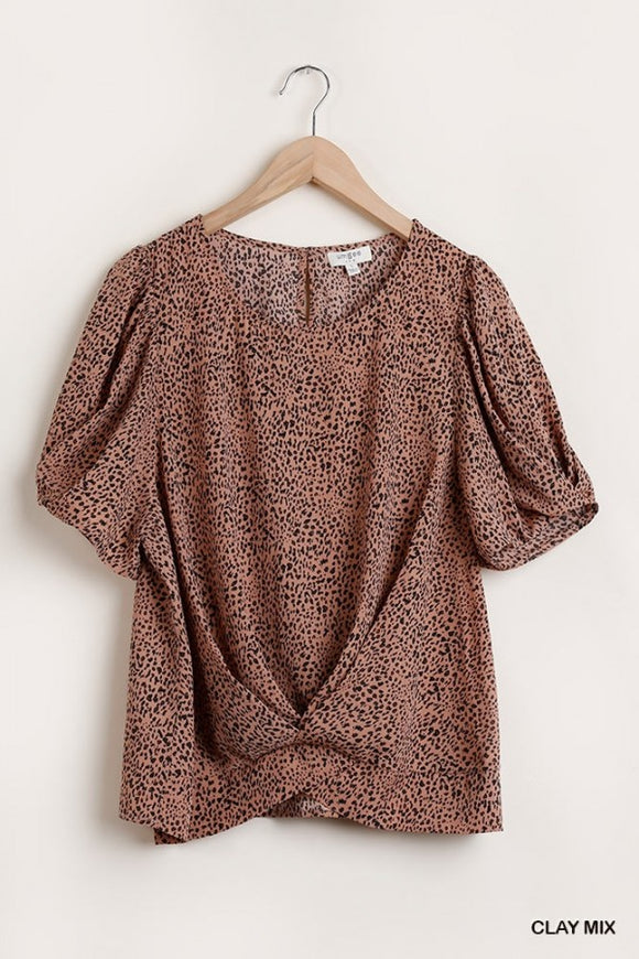 Animal Print Gathered Short Sleeve Top