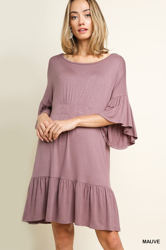 Bell Sleeve Scoop Neck Dress