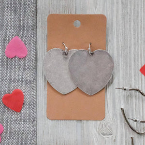 Silver Metal Solid Heart Earrings - Shoppe3130
