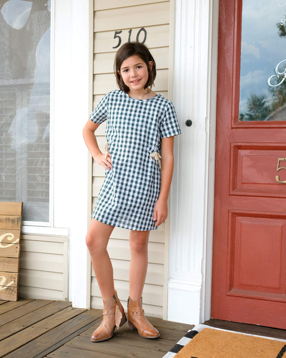 Hayden Girl Green And White Stripped Dress