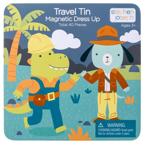 Dino & Dog Travel Tin Magnetic Dress Up