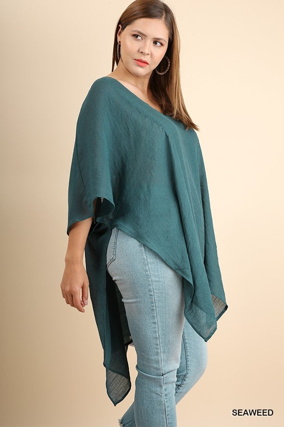 Dark Teal V-Neck Kaftan Top