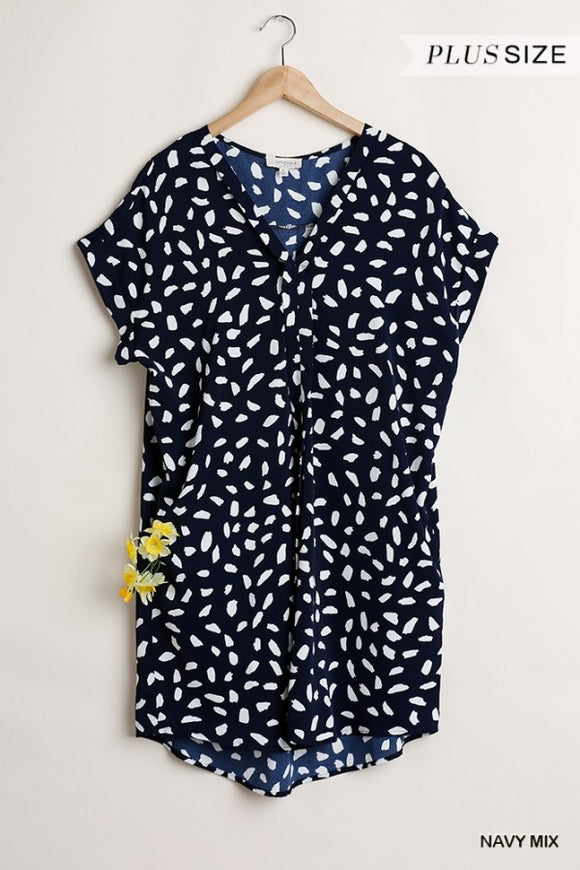Navy Dalmatian Print Dress Umgee
