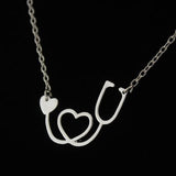 NURSE STETHOSCOPE HEART COLLAR NECKLACE