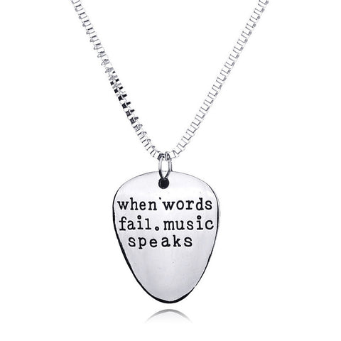 """When Words Fail. Music Speaks"" Guitar Pick Necklace"