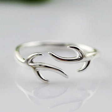 Sterling Silver Deer Antler Ring