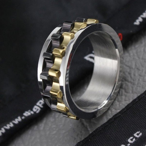 STEAMPUNK STEEL GEARS RING