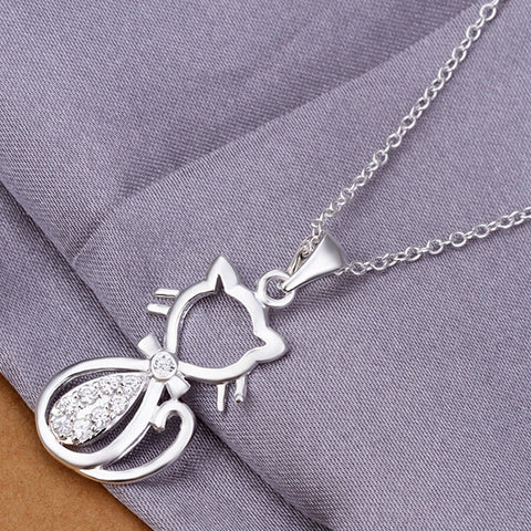 Silver women Jewelry Cat Pendant Necklaces Crystal Necklaces