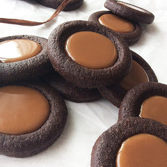 15 Dingel's Oven DUTCHIES Soft, Chewy, Dutch Chocolate Fudge Brownie Cookie Filled With Soft, Sea-Salted Caramel