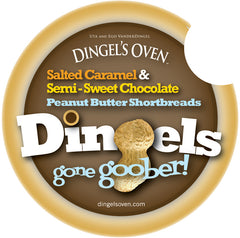 15 Dingel's Oven GONE GOOBER Jacobsen® Sea-Salted Caramel, Guittard® Semi-Sweet Chocolate Peanut Butter Shortbread Cookies