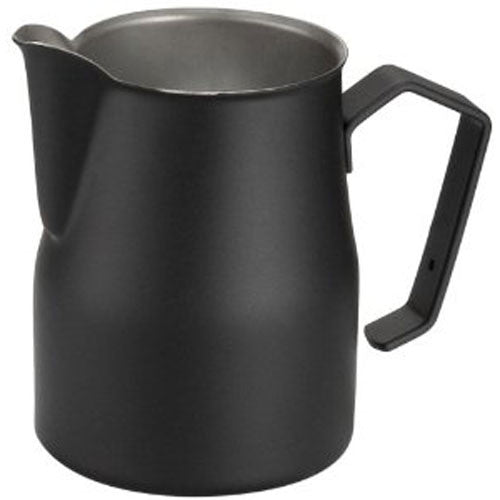 Motta Stainless Steel Professional Milk Pitcher/Jugs, 11.8-floz / 35-cl, Black