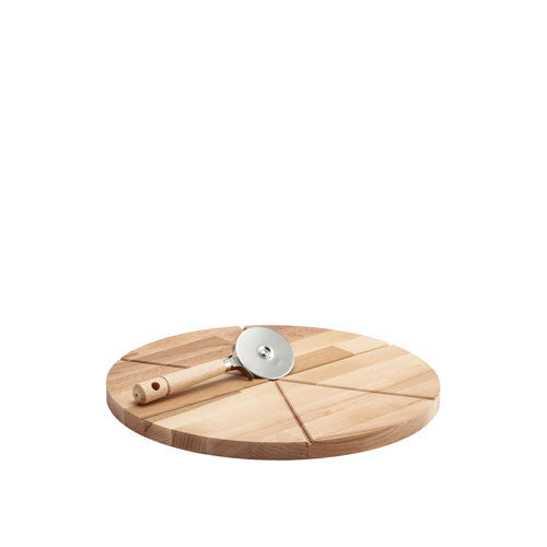 Bisetti Beechwood Cutting Board for Pizza With Cutter