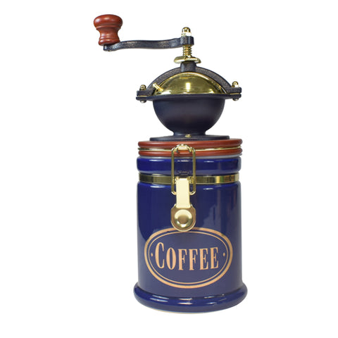Bisetti Manual Coffee Grinder With Large Blue Ceramic Storage Container