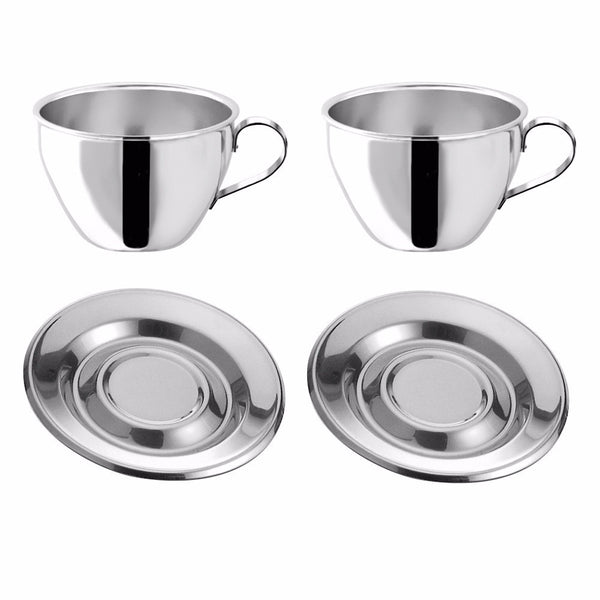 Motta Stainless Steel Cappuccino Cups & Saucers, Set of 2