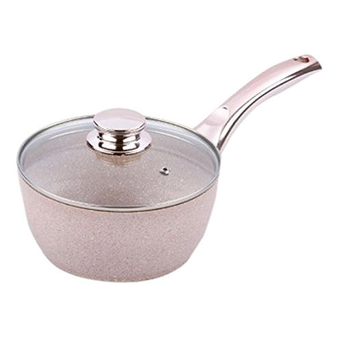 Bisetti Nonstick Stonerose Aluminum Deep Saucepan Including Glass Lid With Metal Side Handle, 18-cm / 7-in