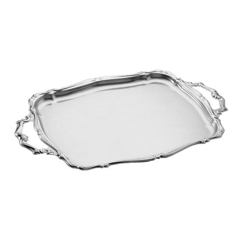 Motta Stainless Steel Rectangular Serving Tray with Handles, 17.1 by 10.6-Inch, Barocco