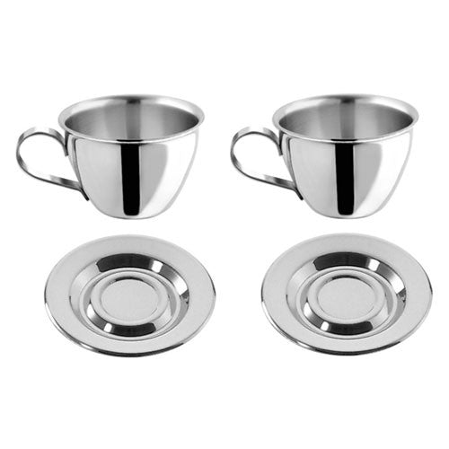 Motta Stainless Steel Espresso Cups & Saucers, Set of 2