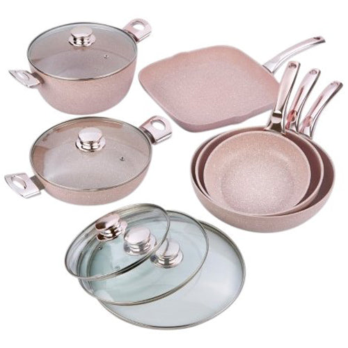 Bisetti 11-Piece Nonstick Aluminum Cookware Set In Stonerose Finish With Stainless Steel Handles